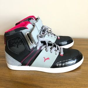 Puma Mid High Top Sneakers Black Pink Gray 7.5